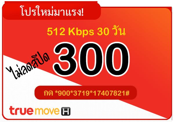 สมัครเน็ตทรู 300 บาท รายเดือน 30 วัน ไม่ลดสปีด ความเร็ว 512 Kbps